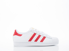 Adidas Originals In White Red Superstar Foundation Womens