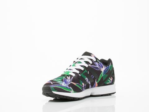 Adidas Originals In Black Green Floral ZX Flux
