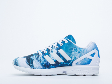 Adidas Originals In White White Blue ZX Flux