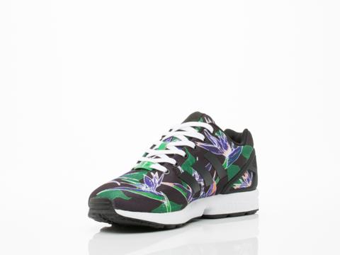 Adidas Originals In Black Green Floral ZX Flux Mens