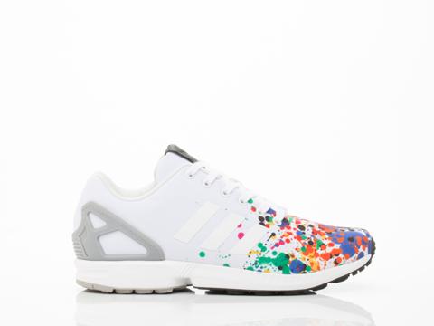 Adidas Originals In White Multi Splatter ZX Flux Mens