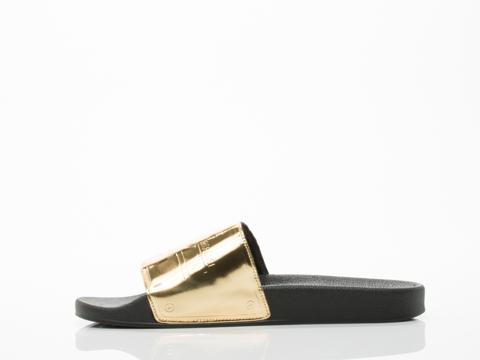 Adidas X Jeremy Scott In Gold Black Adilette Plaque Mens