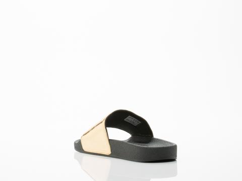 Adidas X Jeremy Scott In Gold Black Adilette Plaque Womens