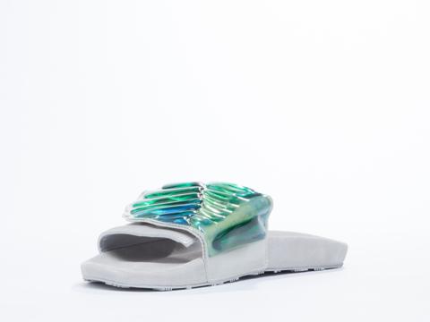 Adidas X Jeremy Scott In White Gel Wings Adilette