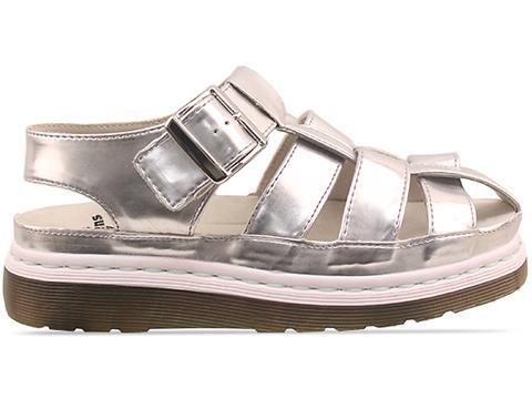 Agyness Deyn X Dr. Martens In Silver Aggy Interlace Sandal