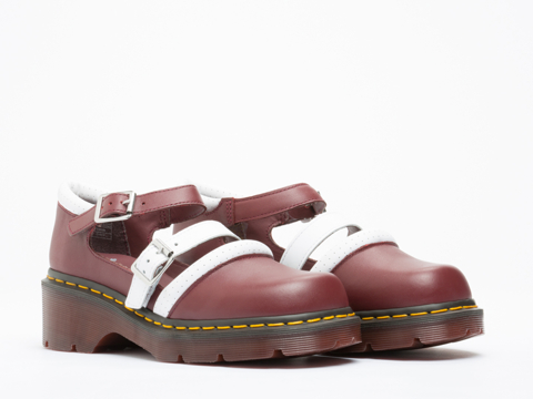 Agyness Deyn X Dr. Martens In Cherry Red White Aggy Strap Shoe