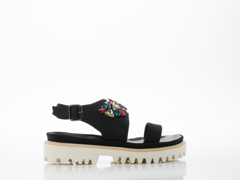 All Black In Black Lugg Jewel Sandal