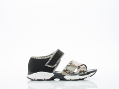 All Black In Python Sporty Wrap And Cross Sandal