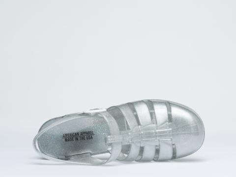 American Apparel In Silver Glitter Woven Jelly Heel