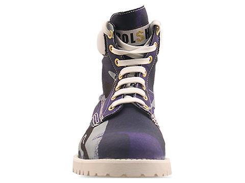 Bolshie In Blue Camo Lace Up Boot