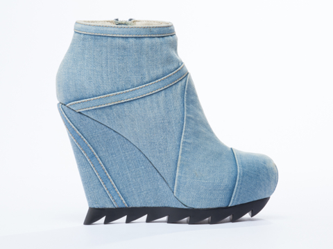 Camilla Skovgaard In Denim Blue Ankle Wedge Boot