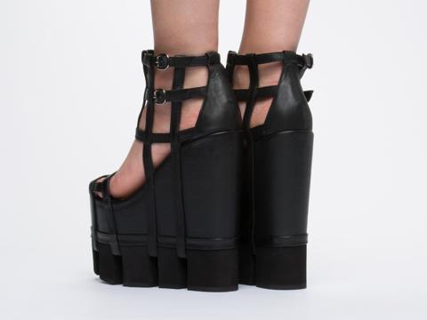 Chromat In Black Black Orthogonal Wedge Sandal