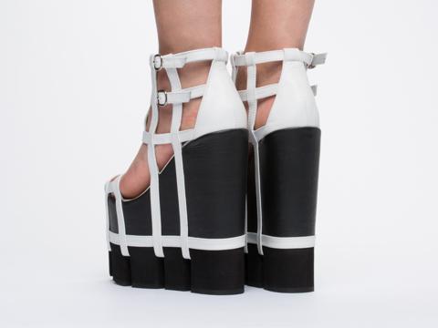 Chromat In White Black Orthogonal Wedge Sandal
