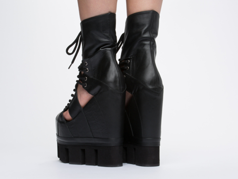 Chromat In Black Black Sport Lace Up Wedge