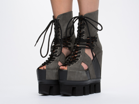 Chromat In Grey Black Sport Lace Up Wedge