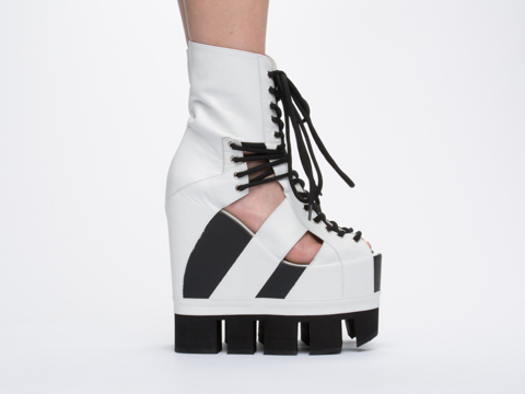 Chromat In White Black Sport Lace Up Wedge