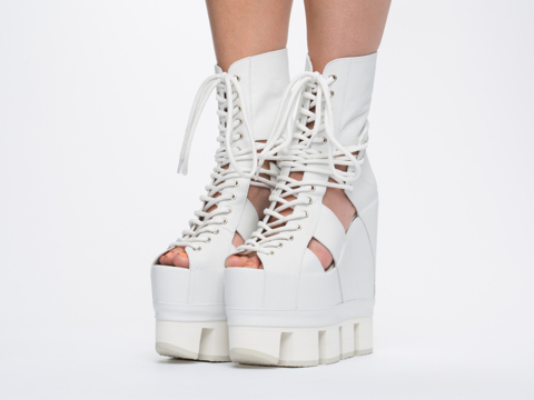 Chromat In White White Sport Lace Up Wedge