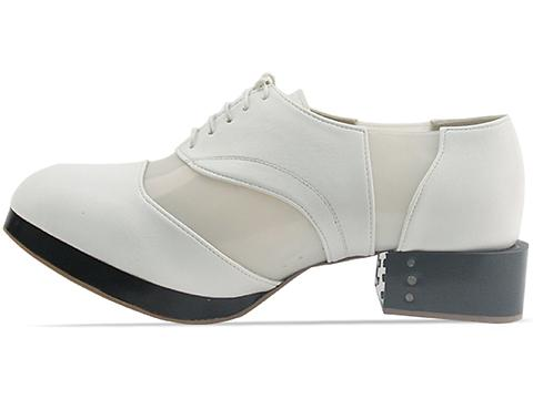Deandri In White Frost On Black Heel Archie Oxfords