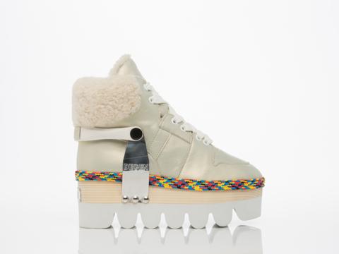 Degen In Iridescent White Magik Strap Boot