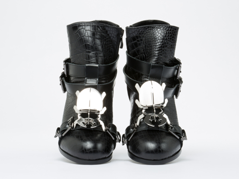 Depression In Black Beetle High Cut Shoes