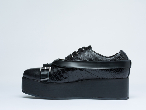 Depression In Black Strap Buckle Creepers Mens