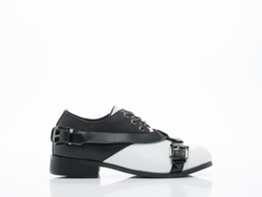 Depression In White Black Strap Buckle Shoes 2.0