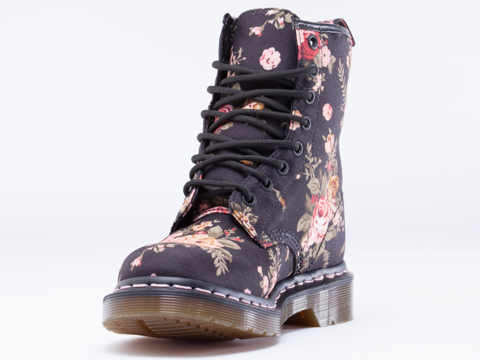 Dr. Martens In Black Victorian Flowers 8 Eye Boot