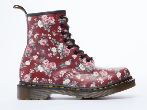 Dr. Martens In Cherry Red Vintage Rose 8 Eye Boot