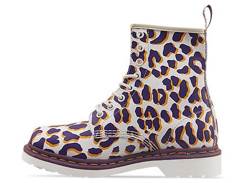Dr. Martens In White Purple Orange Leopard 8 Eye Boot