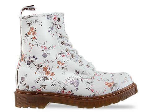 Dr. Martens In White Wild Flower 8 Eye Boot Floral