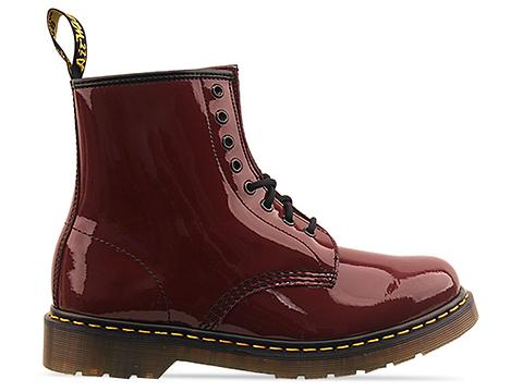 Dr. Martens In Cherry Red Rouge Patent 8 Eye Boot Mens