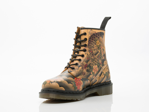 Dr. Martens In Tan Tattoo Sleeve Softy 8 Eye Boot Mens