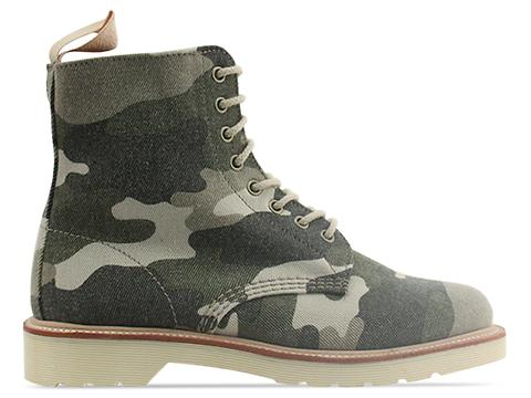 Dr. Martens In Beige Washed Out Camo Canvas Beckett