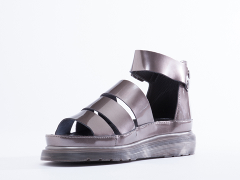 Dr. Martens In Pewter Patent Clarissa