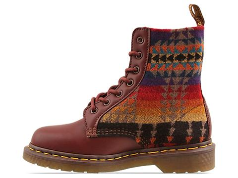 Dr. Martens In Cherry Red Tan Pendleton