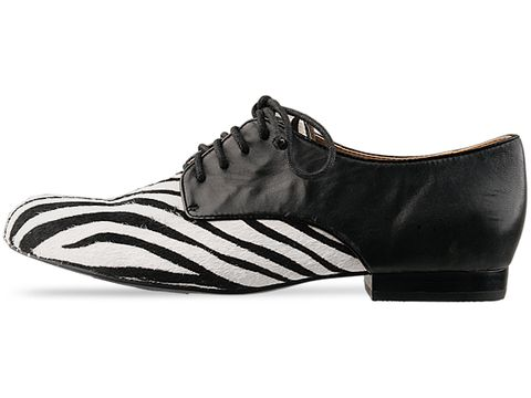 Ego and Greed In Zebra Black Leather Oxford Fur