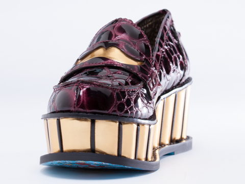 Irregular Choice In Bordo Leather Inky Smudge