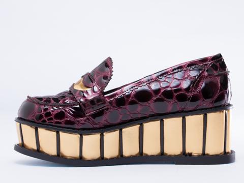Irregular Choice In Bordo Leather Inky Smudge
