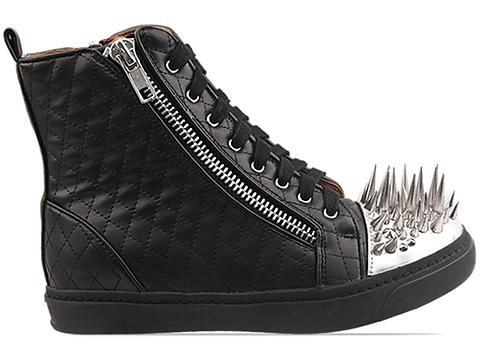 Jeffrey Campbell In Black Quilted Silver Adams Spike