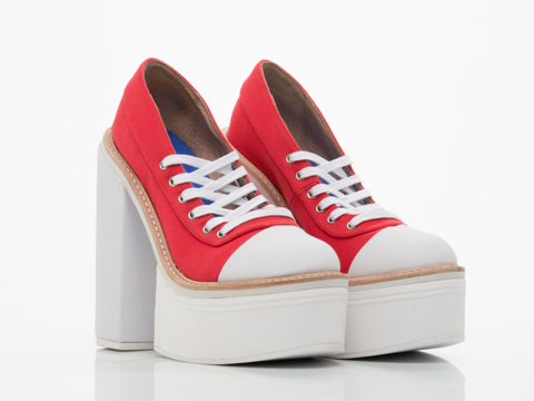 Jeffrey Campbell In Red Canvas White All Pro