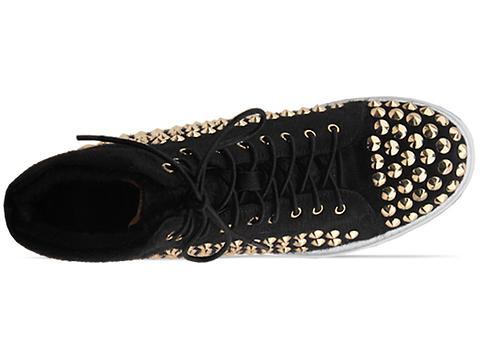 Jeffrey Campbell In Black Pony Gold Alva Hi Stud