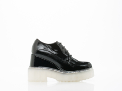 Jeffrey Campbell In Black Crinkle Patent Clear Anola 2