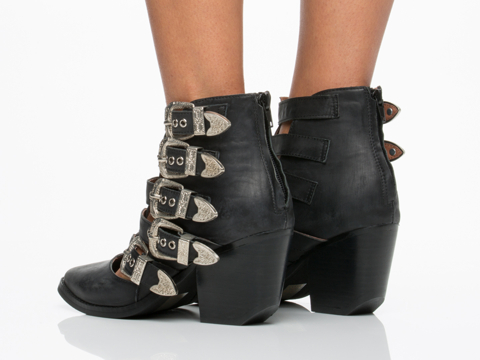 Jeffrey Campbell In Black Washed Silver Baton