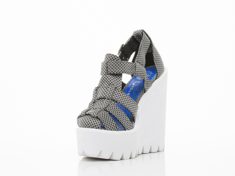 Jeffrey Campbell In Black White Mesh White Betula Wedge