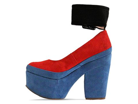 Jeffrey Campbell In Red Black Blue Suede Boop D Doo Suede