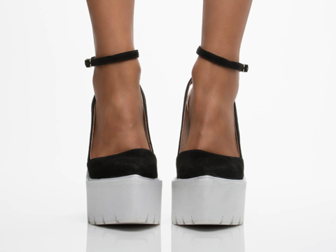Jeffrey Campbell In Black Suede White Celebrity