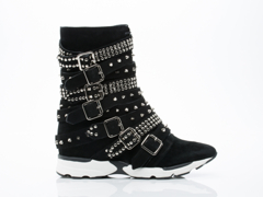Jeffrey Campbell In Black Suede Silver Chaser