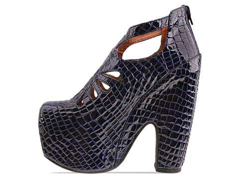 Jeffrey Campbell In Navy Croco Patent Cuffed Exotic