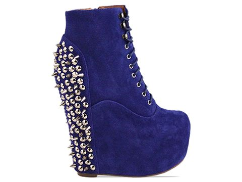 Jeffrey Campbell In Blue Suede Silver Damsel Spike