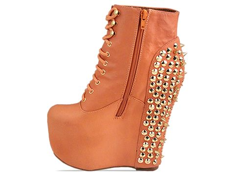 Jeffrey Campbell In Orange Gold Damsel Spike Gold